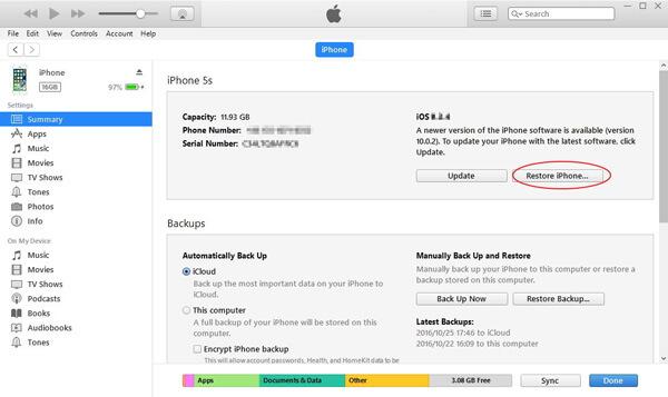 Palauta iTunesin tehdasasetukset