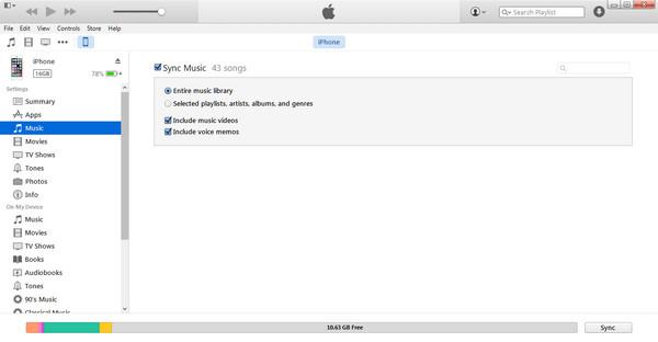 Siirrä musiikkia iTunesista iPhoneen