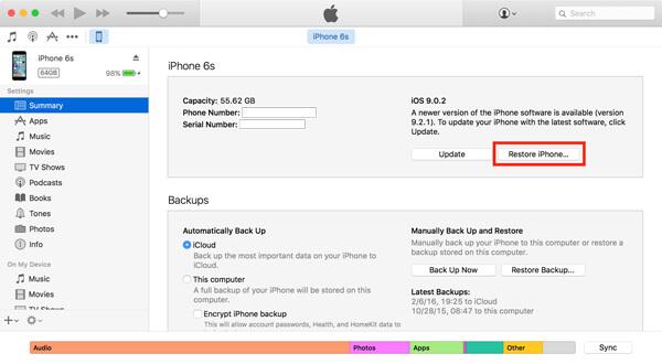 Palauta iPhone iTunesissa