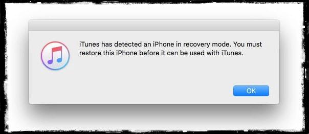 Apple iTunesin palautustilan viesti