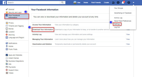 Download Facebook Information