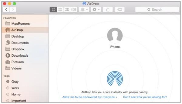 Synkronoi yhteystiedot iPhonesta Mac-tietokoneeseen Airdropilla
