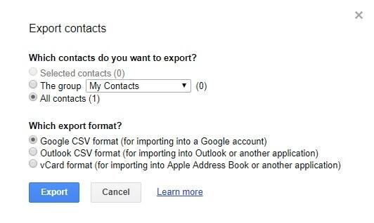 Siirrä Android-yhteystiedot tietokoneellesi Gmailissa