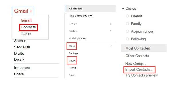 Gmail-yhteystietojen tuonti