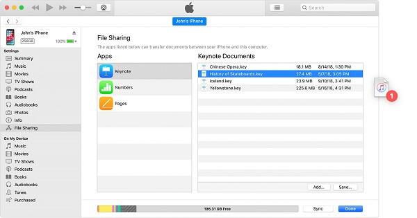iTunes iPhone-tiedostonhallinta