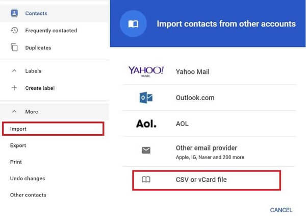 Gmail transfer contact