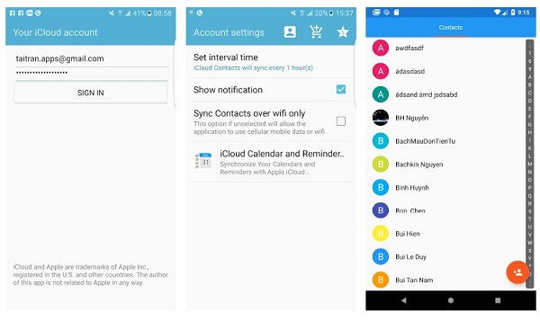 Sync cloud contacts