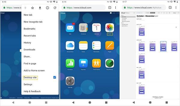 Käytä icloud-kuvia Android-selaimella