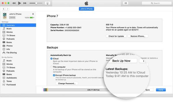 MacOS iTunes12-7 iPhone7 Yhteenveto-varmuuskopiot