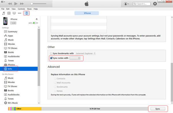 Synkronoi iPhonen muistiinpanot Outlookin kanssa