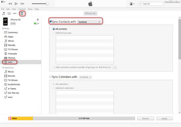Siirrä Outlook-yhteystiedot iPhoneen iTunesin avulla
