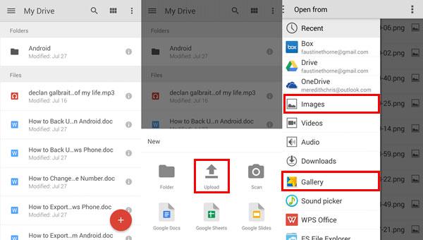 Siirrä valokuvia android ja tietokoneen google-asema