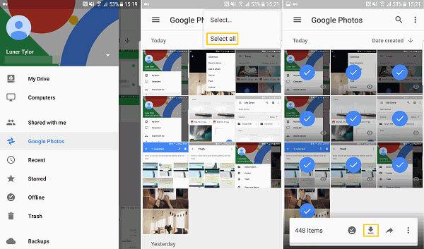 Lataa kuvia google-valokuvista
