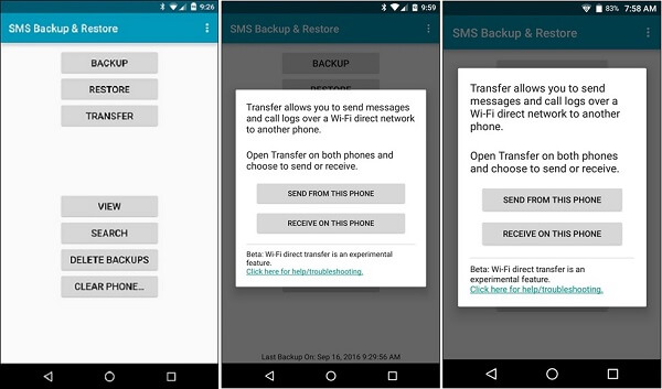 SMS-varmuuskopio palauttaa varmuuskopio