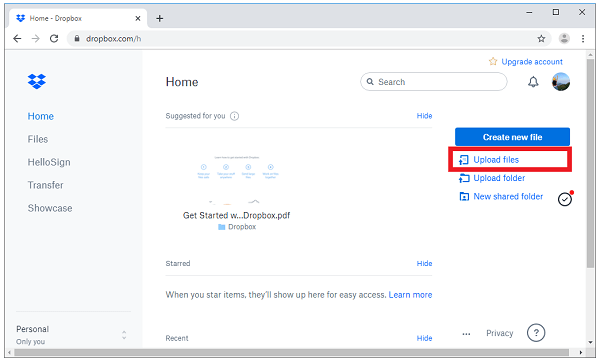 Dropbox Upload Videos