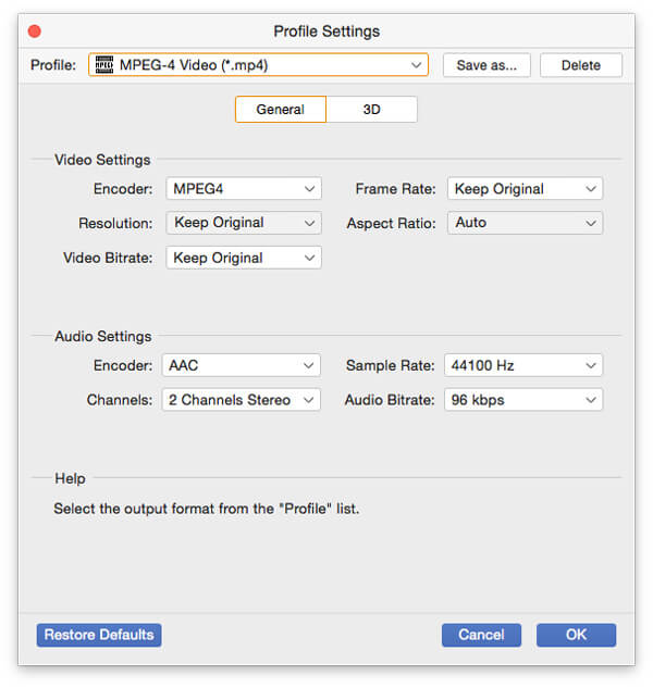 Choose MP4 Output Format