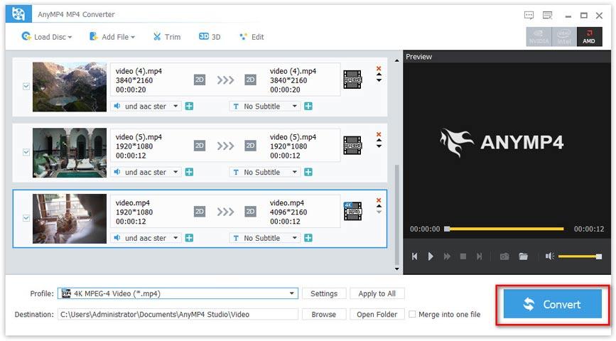 Muunna MP4-tiedostot-näyttö