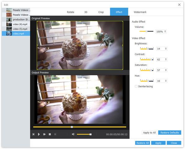 Muokkaa videotehosteita -näyttö