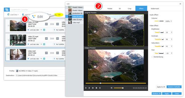 Muokkaa videovaikutuksia
