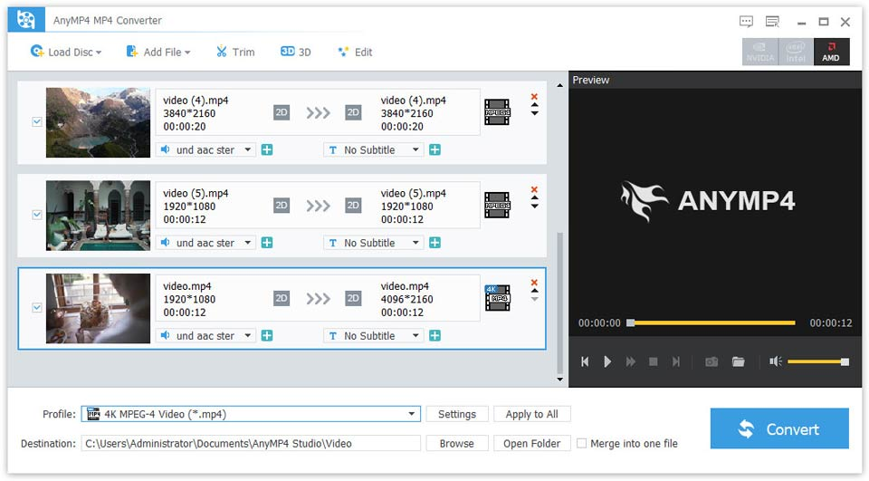 AnyMP4 MP4 Converter Screen shot