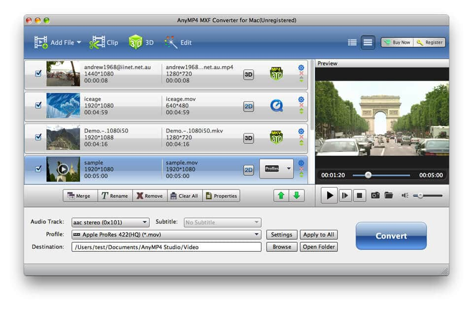 Convert MXF/P2 MXF to any video formats on Ma