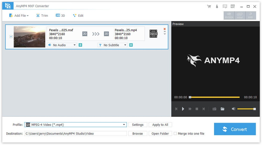 Convert MXF to any video formats and 3D vides