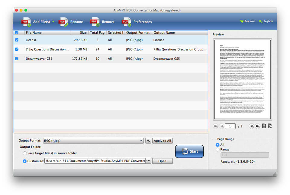 AnyMP4 PDF Converter for Mac full screenshot