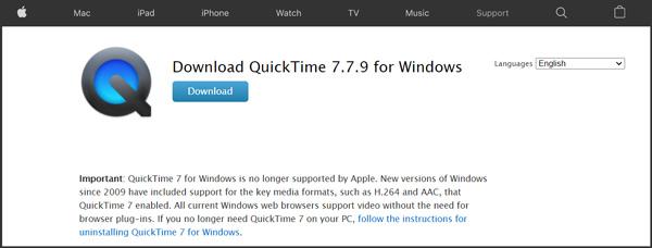Lataa QuickTime Player Windowsille