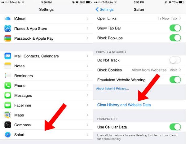 Poista Safarin välimuisti iPhonessa