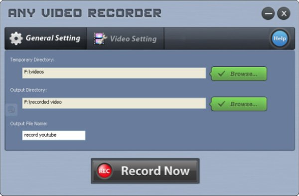 Any Video Recorder general settings