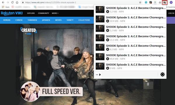 Napsauta Video DownloadHelper