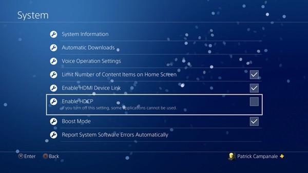 Suoratoisto PS3 Poista HDCP käytöstä