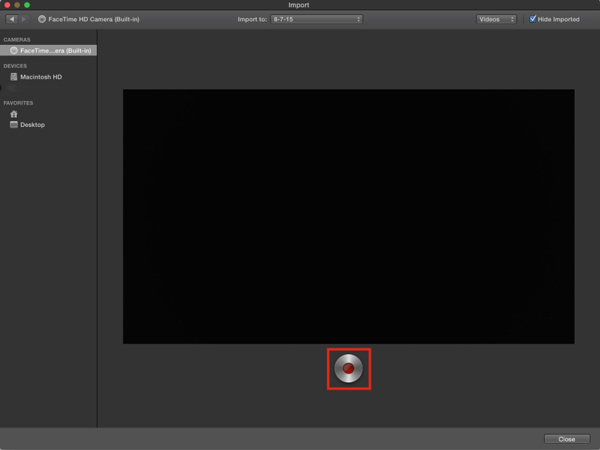 iMovie camera capture clip