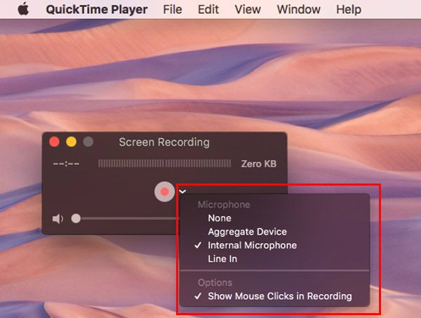 Select Recording sound quicktime