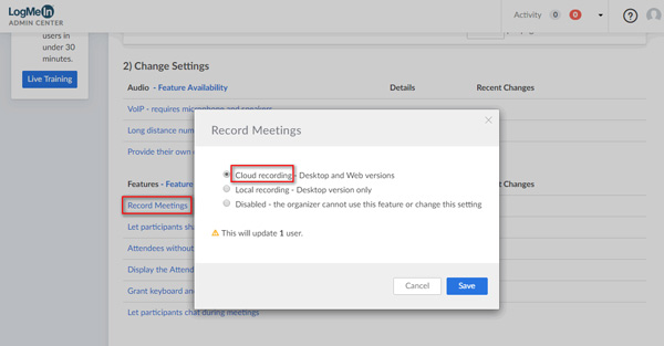 Enable Cloud Recording