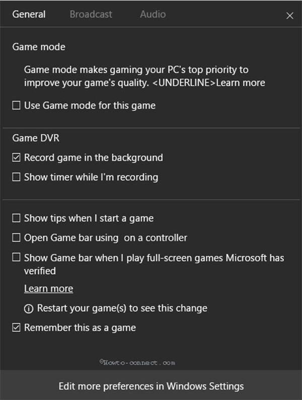 Windows10-pelipalkin asetukset