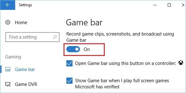 Ota pelitilan valinta käyttöön Windows 10