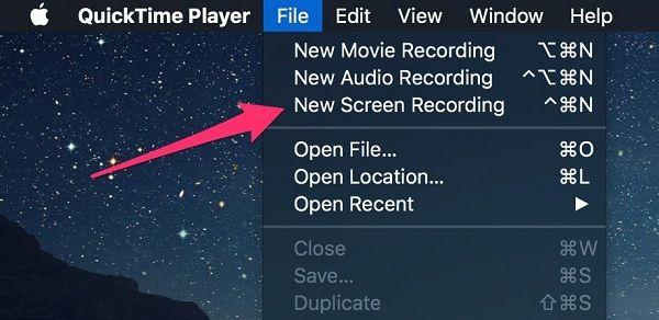 Uusi näytön nauhoitus Mac Quicktime