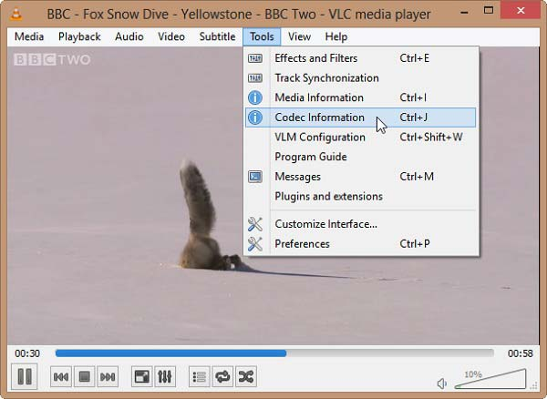 Koodekkitiedot VLC