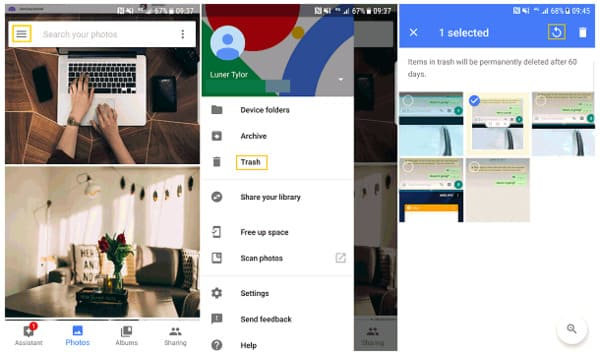 Recover google photos on android
