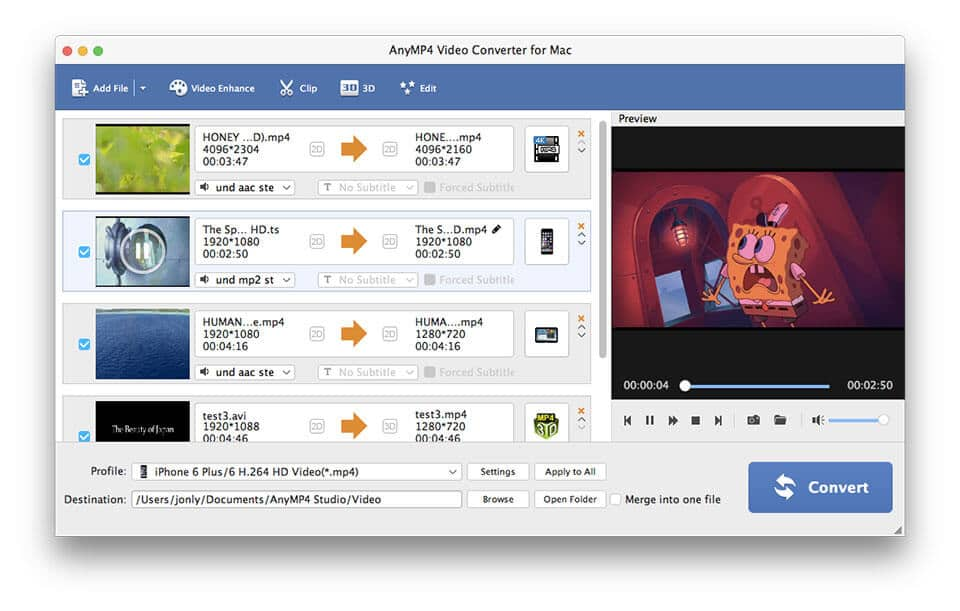 AnyMP4 Video Converter for Mac Screen shot