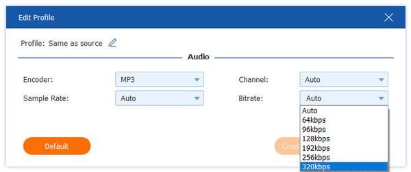 Säädä äänen bittinopeutta enintään 320 kbps