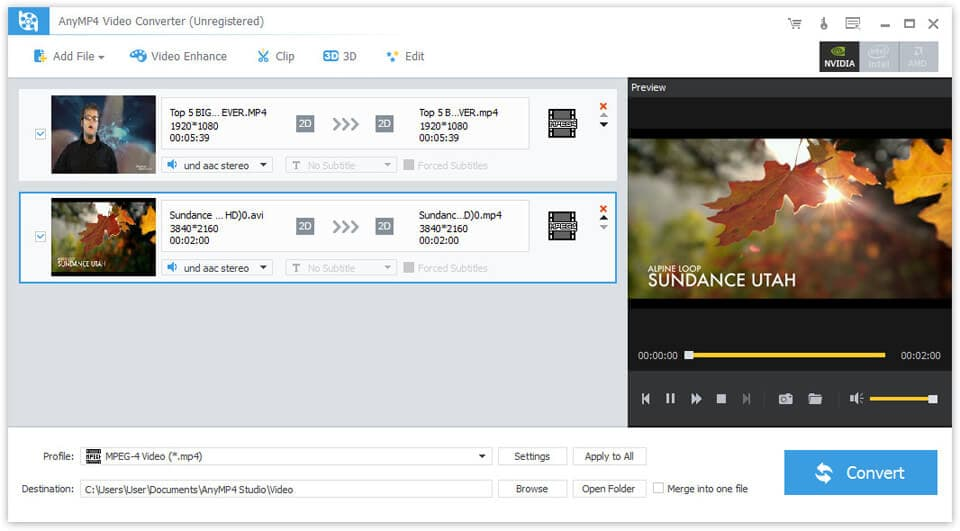 Click to view AnyMP4 Video Converter screenshots