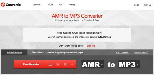 Convert AMR to MP3 Convertio
