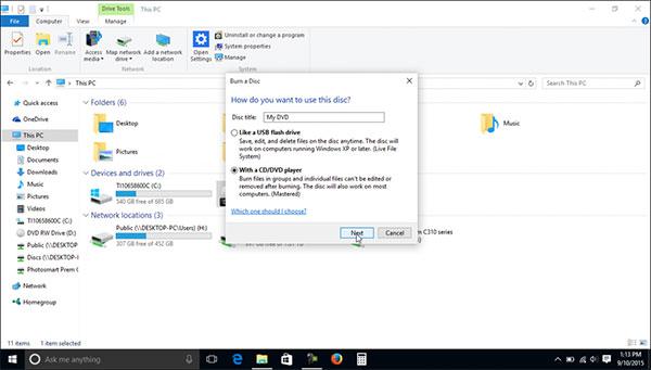 Windows 10 Sisäänrakennettu CD-poltin