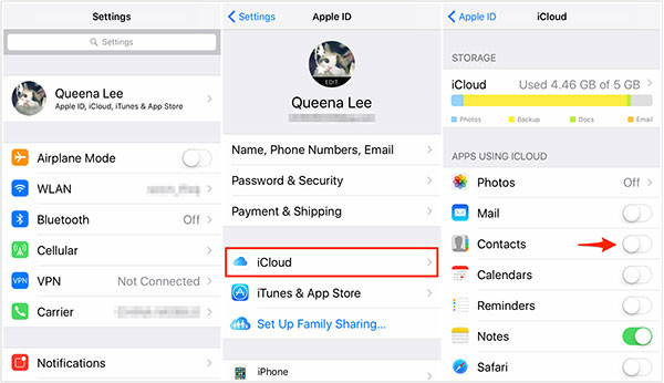 Enable Contacts from iCloud on iPhone